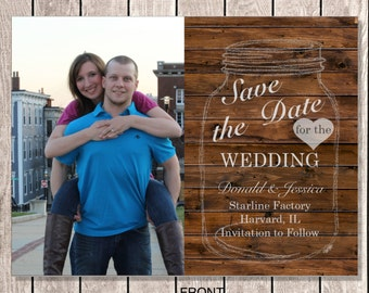 Rustic Mason Jar Photo Wedding Save the Date postcard