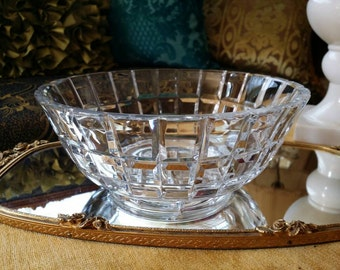 """NICE! Authentic Vintage Mid Century Modern Cubist Art Glass Crystal Cartier Bowl Dish 8 1/4"""" Diameter X 3 1/4""""H AS IS"""