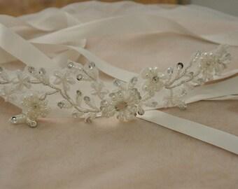 Bridal Rhinestone Applique, Wedding Sash Appique, Bridal Garter Applique