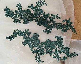 venice bridal lace applique in green for wedding, veils