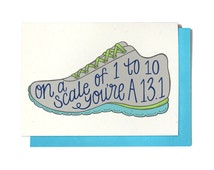 Marathon Card - Half Marathon Card - On a scale of 1 to 10 - Running Card - Race Day Card