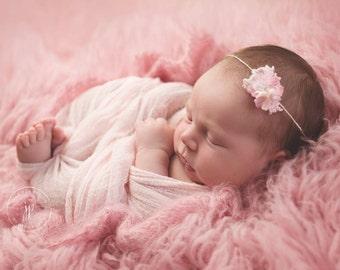 SALE! ** Newborn Tieback, Fairy Whispers Tieback, Photo Prop, Pink Tieback, Chiffon Tieback, Floral Headband, Photo Prop, Organic Prop, Jute