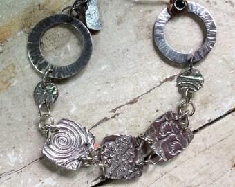Sterling Silver Link Bracelet Handmade with Green Quartz