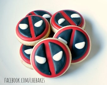 Small Deadpool Decorated Sugar Cookies - One Dozen