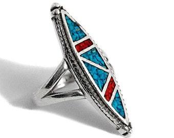 Mosaic Enamel Ring Silver