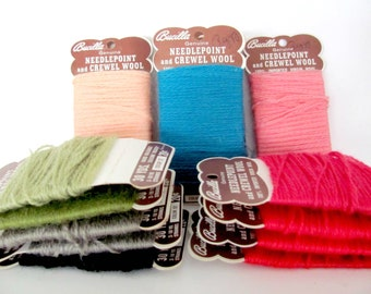 Vintage Wool Yarn Lot, 1970's Bucilla Needlepoint and Crewel Yarn, Virgin Wool Yarn Lot, Vintage Yarn for Crafting, Lot of Yarn