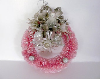 Pink Christmas Wreath, Vintage Bottle Brush Wreath, Upcycled Wreath, Angel Wreath, Christmas Decor, Decoration