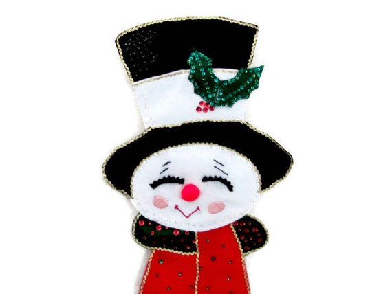 Vintage Snowman Wall Hanging Felt Snowman Christmas Card