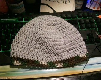 Gray and camo crochet hat