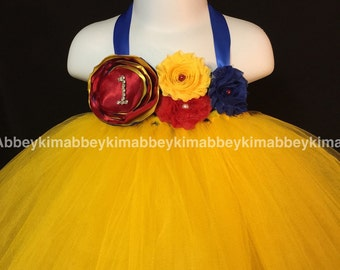 Beautiful royal blue and yellow  tutu dress  first birthday for baby girls  12-18 months