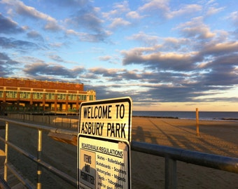 Welcome to Asbury Park - travel photography - beach photography - nautical decor - boardwalk - New Jersey shore - wall art