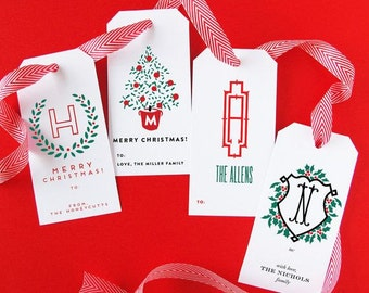 Holiday Personalized Gift Tags - Set of 24