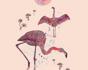 Tropical Series Art Giclee Print 'Flamingoes & the Moonrise'