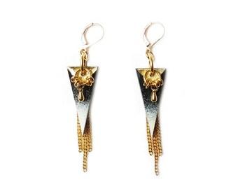 NIKITA - gold geometric earrings, spike earrings, triangle earrings, edgy earrings, fringe earrings, boho chic earrings, geometric jewelry