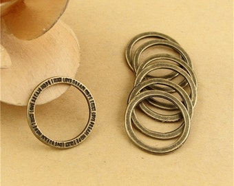 100 Blessing Circle Charms, 20mm BrassTone Trust Love Dream Hope Pendants A2071