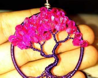 Purple with pink swarvoski tree of life