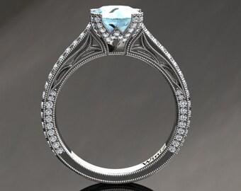 Aquamarine Engagement Ring Aquamarine Ring 14k or 18k White Gold Matching Wedding Band Available SW9AQUAW