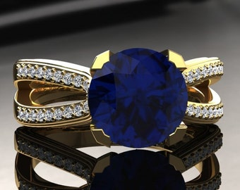 Blue Sapphire Engagement Ring Blue Sapphire Ring 14k or 18k Yellow Gold SW7BUY