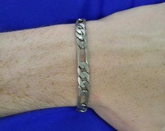 """Sterling Silver 925 Great Figaro Chain Bracelet 8"""" Long ET 6442"""