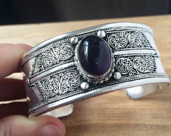 Tibetan Filigree Open Cuff, Bohemian jewelry Boho bracelet