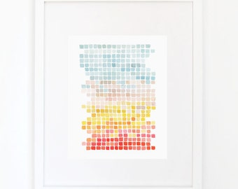 Color Shift in Teal and Coral - Watercolor Art Print