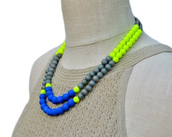 colorful necklace / multi-color necklace / neon blue yellow grey necklace / bright necklace / beaded necklace / statement necklace