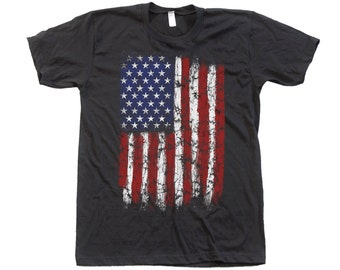 US Flag T Shirt With Foil Details Custom Hand Screen Printed on American Apparel Crew Neck Available: S , M , L , Xl ,Xxl