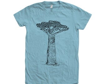 Baobab Tree Tshirt Custom Hand Screen Print American Apparel Crew Neck Available: S, M, L, Xl, 2Xl