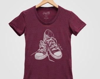 Screen Print Women T Shirt Tri-Blend Short Sleeve Available: S, M, L, XL