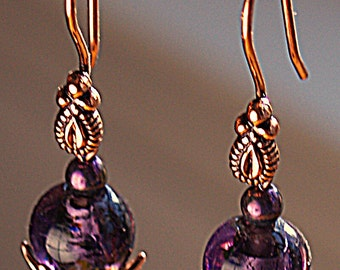 Purple Glass Bead and Copper Earrings
