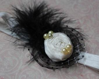 Baby Girl Headband, Black and White Headband, Newborn Hairpiece, White and Black Wedding, Girl Hair Accessory, Toddler Girl Headpiece