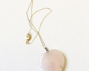 Rose Quartz Heart Stone Necklace