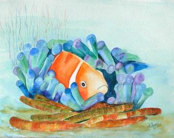 The Reef/Original Watercolor Painting/Clown Fish/Sea Anemone/handmade