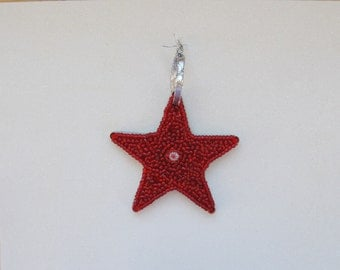 Star Ornament with Sparkly Beads Red with White Millefiore Collectible  mosaic Holiday gift