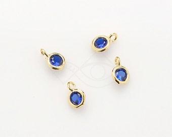 1084041 / Sapphire / 16k Gold Plated Brass Framed CZ Pendant  4.2mm x 6.2mm / 0.1g / 4pcs
