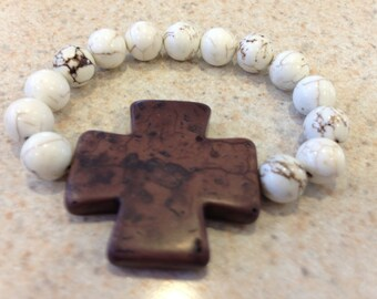 Large Brown Turquoise cross with white and brown turquoise beads stretch bracelet