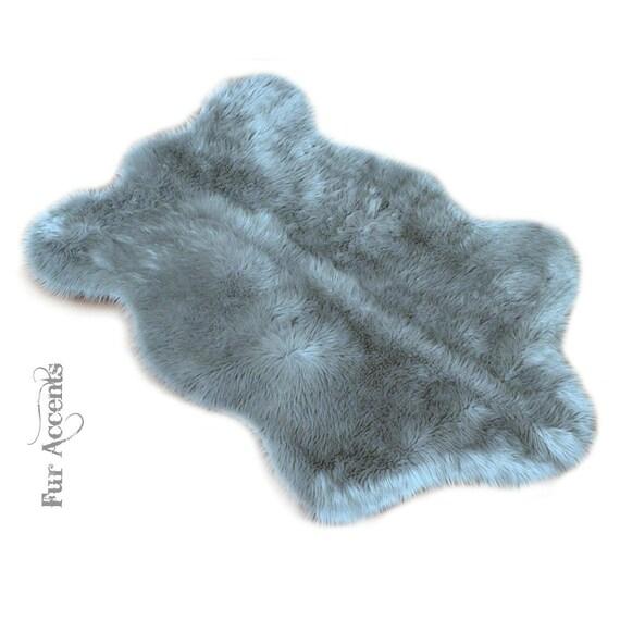 Soft Gray Faux Fur Area Rug Shaggy Shag Fake Fur By FurAccents