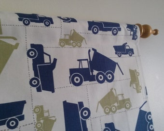 Boys Valance, Toy Trucks Valance, Boys Window Treatment