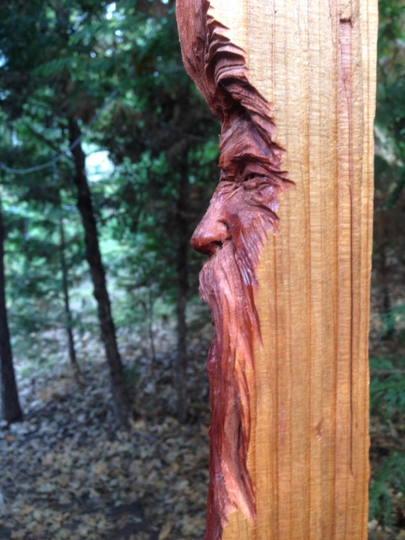 Hand carved grouchy watcher redwood wood spirit carving