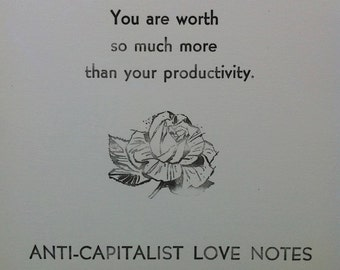 set of three: anti-capitalist love notes postcards