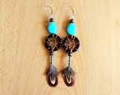 Dreamcatcher Earrings with Turquoise stone and Golden Pheasant Feathers