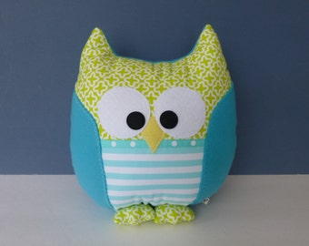 Owl Pillow - Celery Green & Turquoise