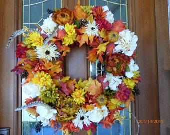 Fall Floral Wreaths -  Front door wreaths - Autumn Wreaths - fall wreaths - door Wreaths - decorative wreaths - Thanksgiving wreaths