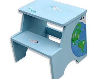 Kids World Map, Educational, World Map Nursery, Children Furniture, Bathroom Furniture, Globe, Hand Painted Furniture Children, Step Stool
