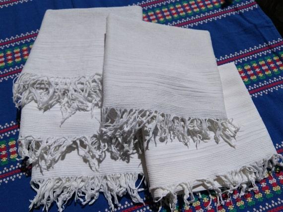 Antique Plain White French Dish Cloth Fringed 1930's Waffle Cotton Towel #sophieladydeparis