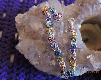 Rainbow Chain Mail Bracelet