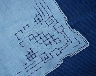 Vintage drawn thread linen handkerchief (#12)