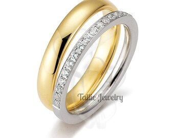 His & Hers Wedding Bands,14K White Gold and Yellow Gold Diamond Eternity Wedding Rings,Matching Wedding Rings,Womens Diamond Wedding Bands