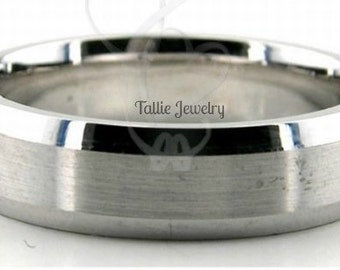 18K Mens and Womens  White Gold Wedding Band Ring  6MM Wide  Sizes 4-12  Free Engraving  New