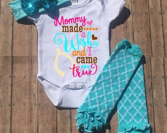 Mommy Made a Wish and I Came True Outfit, Thanksgiving Bodysuit, Thanksgiving Outfit, Baby, Gi